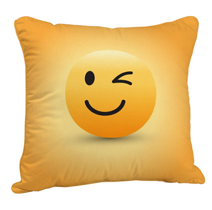 Winking Face EMOJI Satin Cushion Pillow Cover with Filler