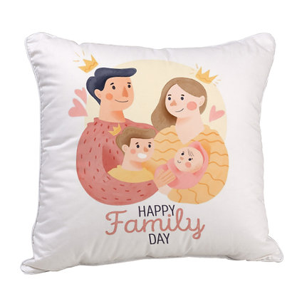 Happy Family Day Satin Cushion Pillow with Filler