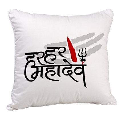 Har Har Mahadev  Printed Poly Satin Cushion Pillow with Filler