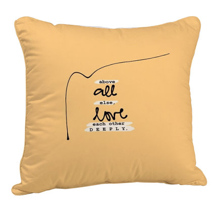 Love Printed Poly Satin Cushion Pillow Cover with Filler