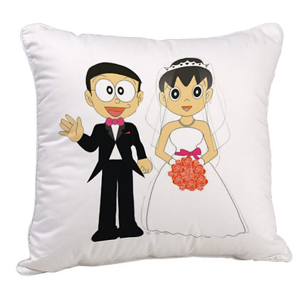 Nobita Love Shizuka Printed Poly Satin Cushion Pillow with Filler