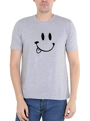 Smile Printed Regular Fit Round Men's T-shirt
