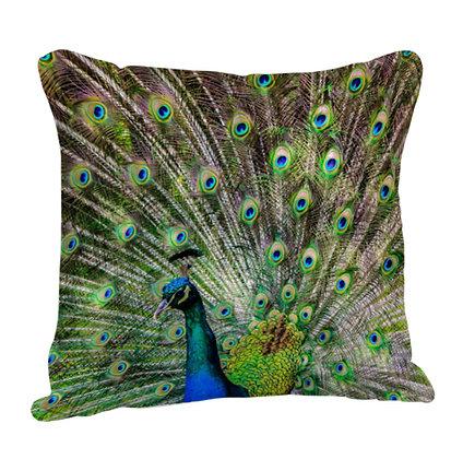Dancing Peacock Satin Cushion Pillow with Filler