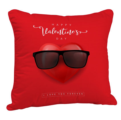 Happy Valentine's Day with Red Heart Satin Cushion Pillow Cover with Filler