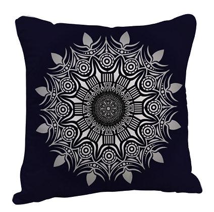 Beautiful Grey Rangoli with Black Theme Satin Cushion Pillow with Filler