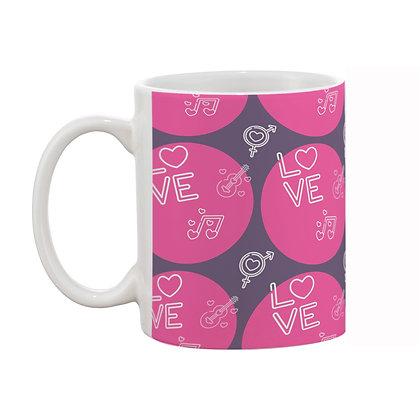 Love and Music Pink Theme Pattern Ceramic Coffee Mug 325 ml