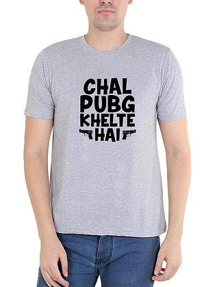 Chal PUBG Khelte Hain Printed Regular Fit Round Men's T-shirt