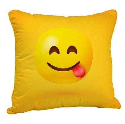 Face Savoring Food EMOJI Satin Cushion Pillow Cover with Filler