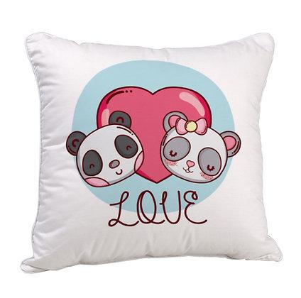 Love Panda Satin Cushion Pillow with Filler