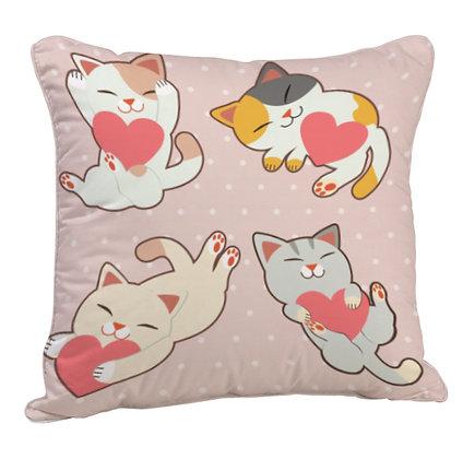 Love Cat Satin Cushion Pillow with Filler