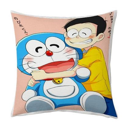 Doremon & Nobita Cartoon Printed Poly Satin Cushions Pillow Cover with Filler