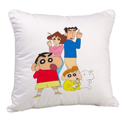 Shinchan with family Printed Poly Satin Cushion Pillow with Filler