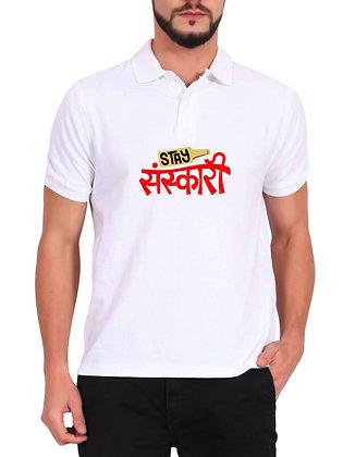 Stay Sanskari Printed Regular Fit Polo Men's T-shirt