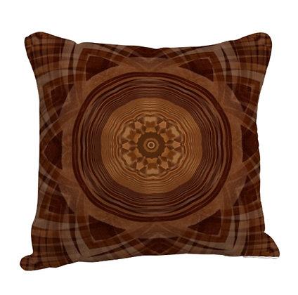Beautiful Red Theme Base Rangoli Satin Cushion Pillow with Filler