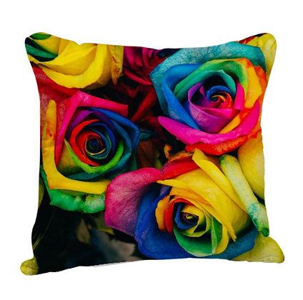 Beautiful Roses Theme Satin Cushion Pillow with Filler