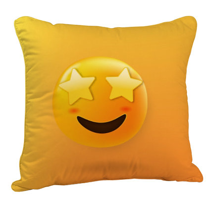 Smiling Face with Star-Eyes EMOJI Satin Cushion Pillow Cover with Filler