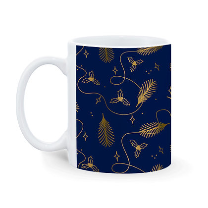 Beautiful Leaves with Blue Pattern Printed Ceramic Coffee Mug 325 ml