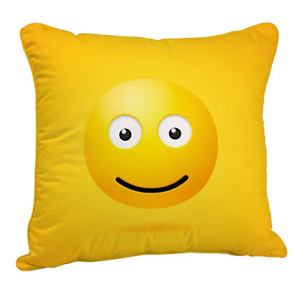 Slightly Smiling Face EMOJI Satin Cushion Pillow Cover with Filler
