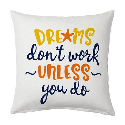 Dreams Printed Poly Satin Cushions Pillow Cover with Filler