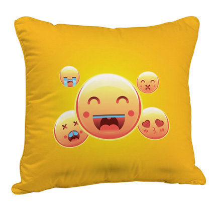Face with Joy Pattern Satin Cushion Pillow Cover with Filler