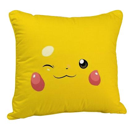 Cute Pokeman Pickachu Face Printed Poly Satin Cushion Pillow with Filler