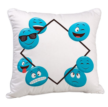 Group of Blue EMOJI Pattern Satin Cushion Pillow Cover with Filler
