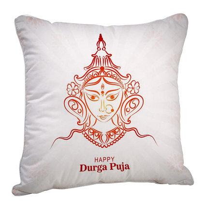 Durga Puja Satin Cushion Pillow with Filler