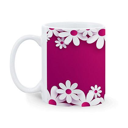 Flowers Pink Theme Ceramic Coffee Mug 325 ml
