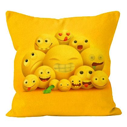 Many EMOJI Faces of Laughing & JoY Printed Poly Satin Cushion Pillow