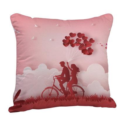 Couple Theme Satin Cushion Pillow with Filler