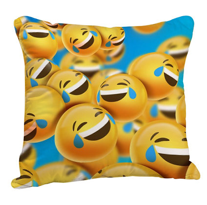 Laughing Face EMOJI Pattern Satin Cushion Pillow with Filler