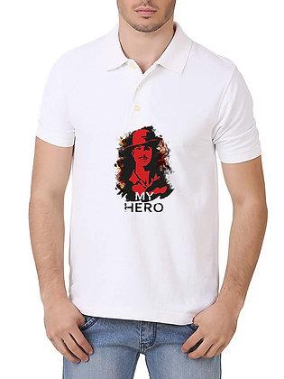 Bhagat Singh is My Hero Printed Regular Fit Polo Men's T-shirt