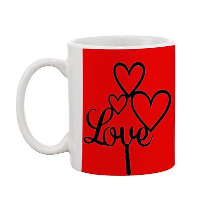 Love with Red Theme Ceramic Coffee Mug 325 ml