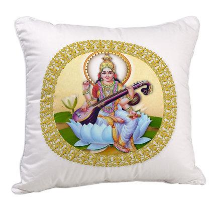 Maa Saraswati Satin Cushion Pillow with Filler