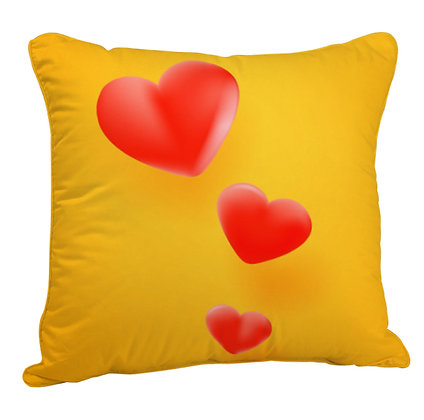 Red Heart Yellow Theme Satin Cushion Pillow Cover with Filler