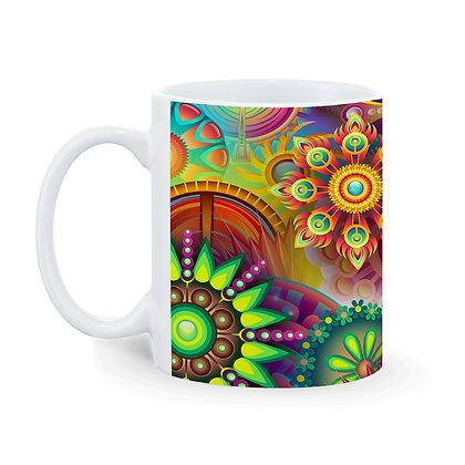 Rangoli Theme Printed Ceramic Coffee Mug 325 ml