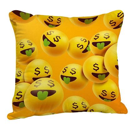 Money Face EMOJI Pattern Satin Cushion Pillow with