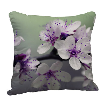 Flowers Theme Satin Cushion Pillow with Filler