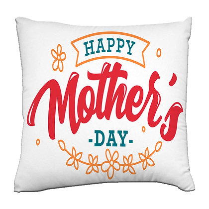 Happy Mother's Day Printed Poly Satin Cushion Pillow Cover with Filler