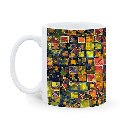 3D Crystal Square Blocks Pattern Ceramic Coffee Mug 325 ml