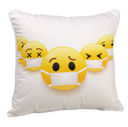EMOJI with mask Pattern Satin Cushion Pillow Cover with Filler