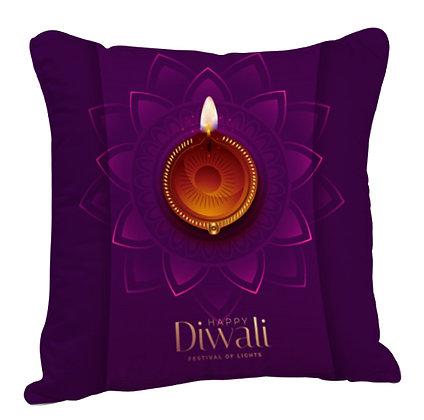 Happy Diwali Satin Cushion Pillow with Filler