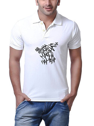 HA HA HA Printed Regular Fit Polo Men's T-shirt