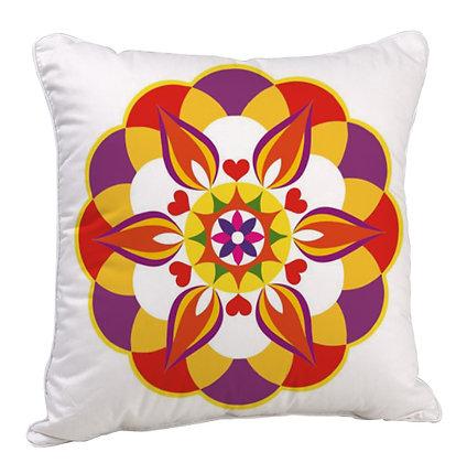 Deep Rangoli Theme Satin Cushion Pillow with Filler