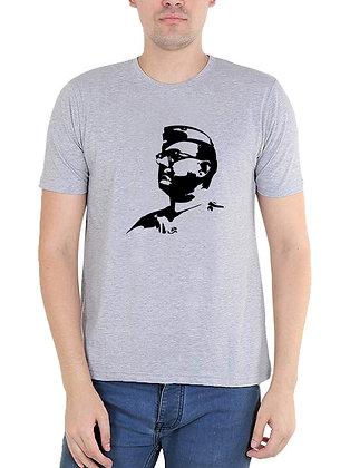 Subhas Chandra Bose Printed Regular Fit Round Men's T-shirt