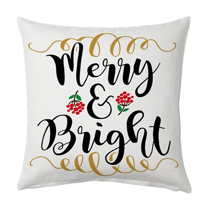 Merry & Bright Printed Poly Satin Cushion Pillow Cover with Filler