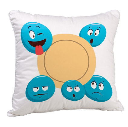 Blue Emoji Pattern Satin Cushion Pillow Cover with Filler