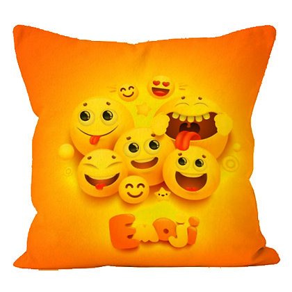 Faces with Joy EMOJI Printed Poly Satin Cushion Pillow Cover with Fi