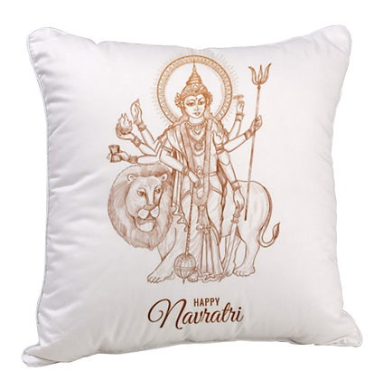 Happy Navrathi Happy Diwali Satin Cushion Pillow with Filler