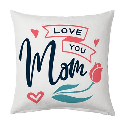 Love u mom Printed Poly Satin Cushion Pillow Cover wit